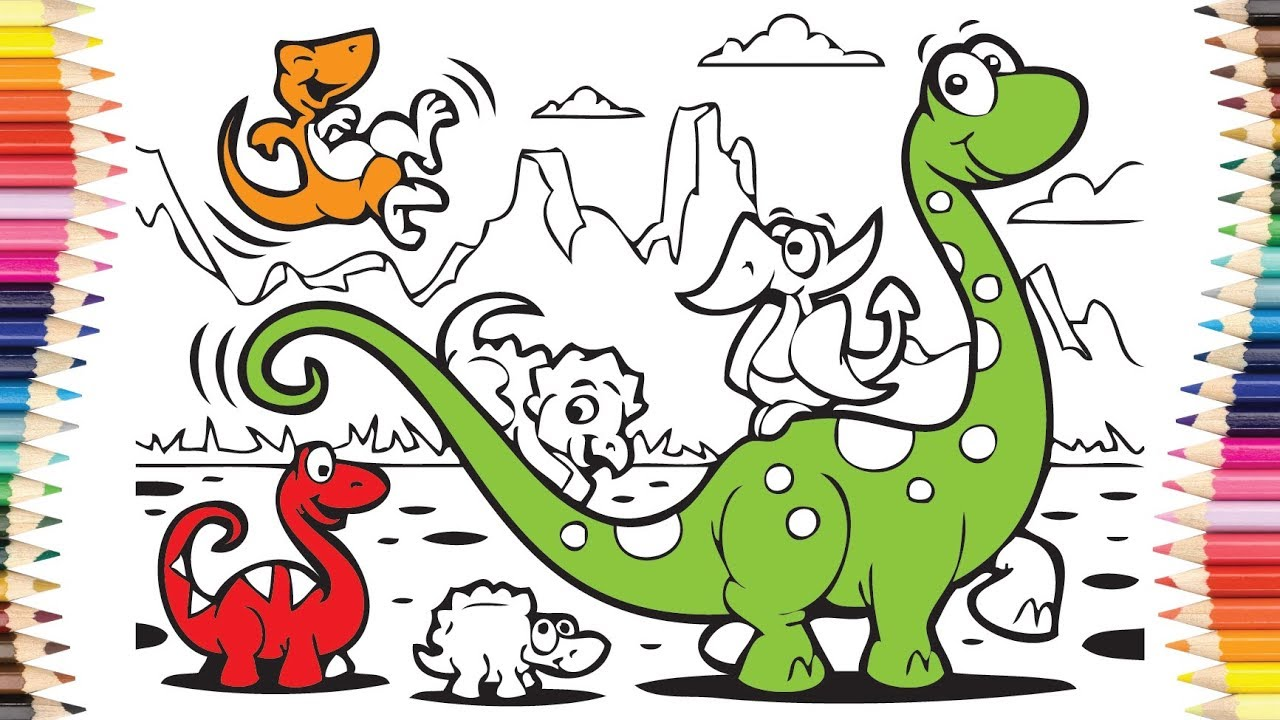Coloring pages for kids - How to draw Dinosaur - Children colors ...