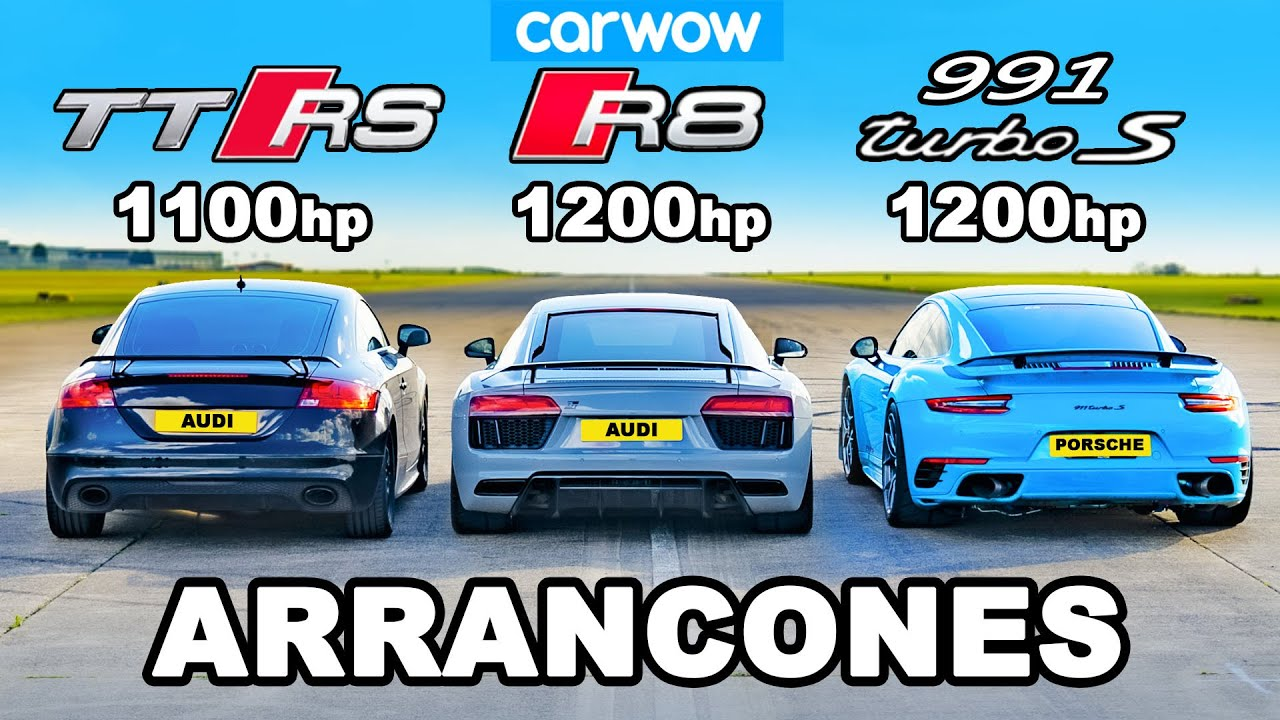 Audi TT RS (1100hp) vs R8 (1200hp) vs 911 Turbo (1100hp) : ARRANCONES