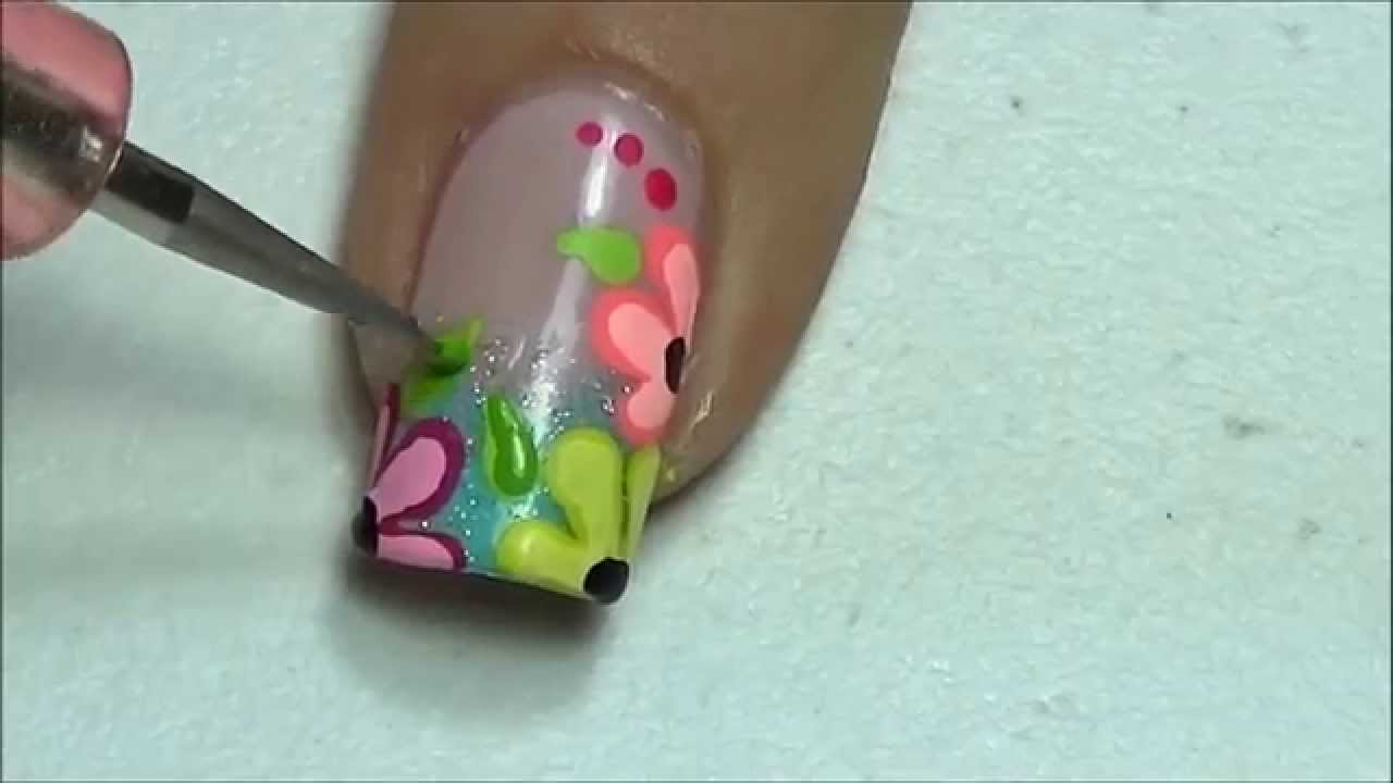 Decoraci n de u as flores neon neon flowers nail art for Como hacer decoracion de unas