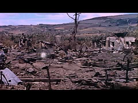 Aftermath of Japanese Banzai charge on Saipan, Mariana Islands during WWII HD Stock Footage