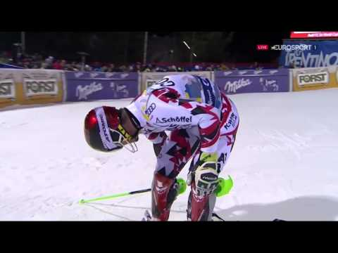 TV drone crashes during ski race - Marcel Hirscher at Madonna di Campiglio