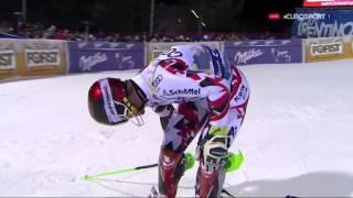 TV drone crashes during ski race - Marcel Hirscher at Madonna di Campiglio