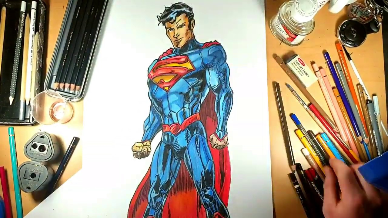 Drawing Superman Comic Book Style Youtube