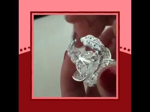 Bellissimo anello in argento placcato rodio