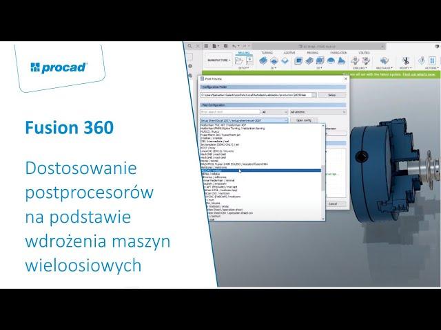 Dostosowanie postprocesorów na podstawie wdrożenia maszyn wieloosiowych w Fusion 360