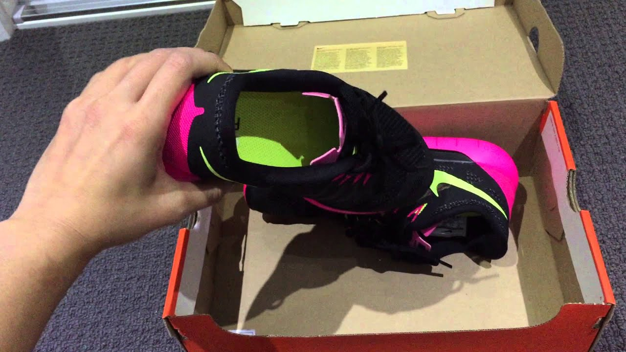 buy online 76d06 787a7 Nike Womens Free 5.0 Black Volt Hyper Pink Anthracite - Unboxing unwrapping