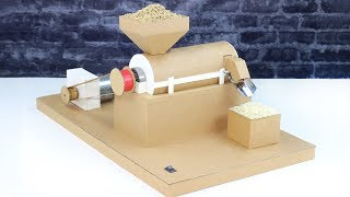 DIY Auto Rice Milling Machine From Cardboard & PVC! Rice Mill Using DC Motor