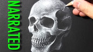 How to Draw a Skull [White Pencil on Black Paper]