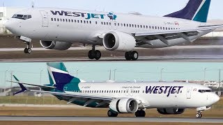 Old and New Livery WestJet Boeing 737 MAX 8s Landing at Calgary Airport