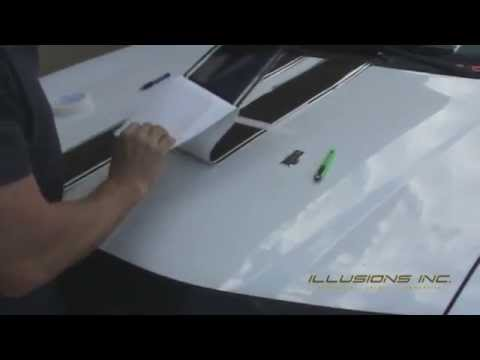How To Install Vinyl Graphics.  Racing Stripes Installation by Illusions GFX Tampa, FL