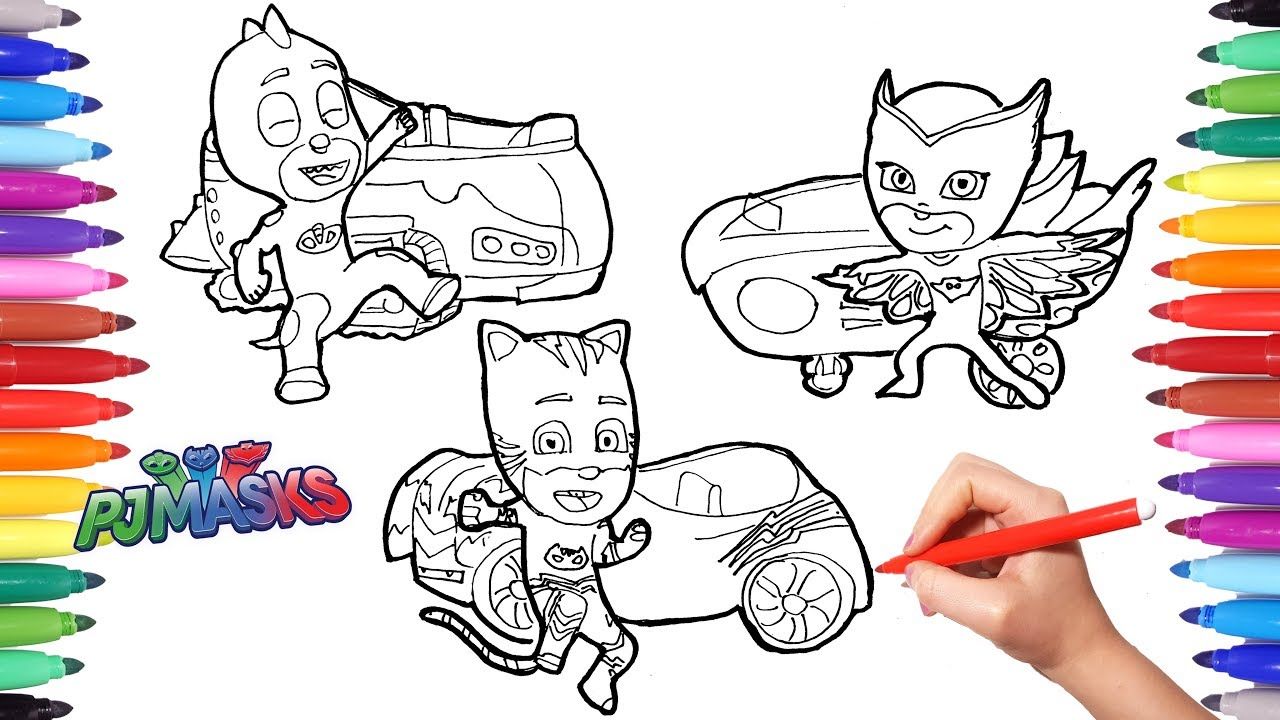 pj masks vehicles coloring pages for kids how to color all pj masks and all their vehicles - Pj Masks Coloring Pages