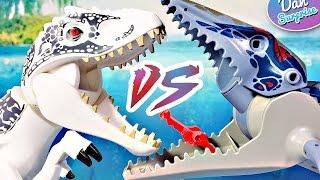 INDOMINUS REX vs MOSASAURUS! Story 2 LEGO DINOSAUR BATTLE JURASSIC WORLD TOYS - T-Rex & Velociraptor