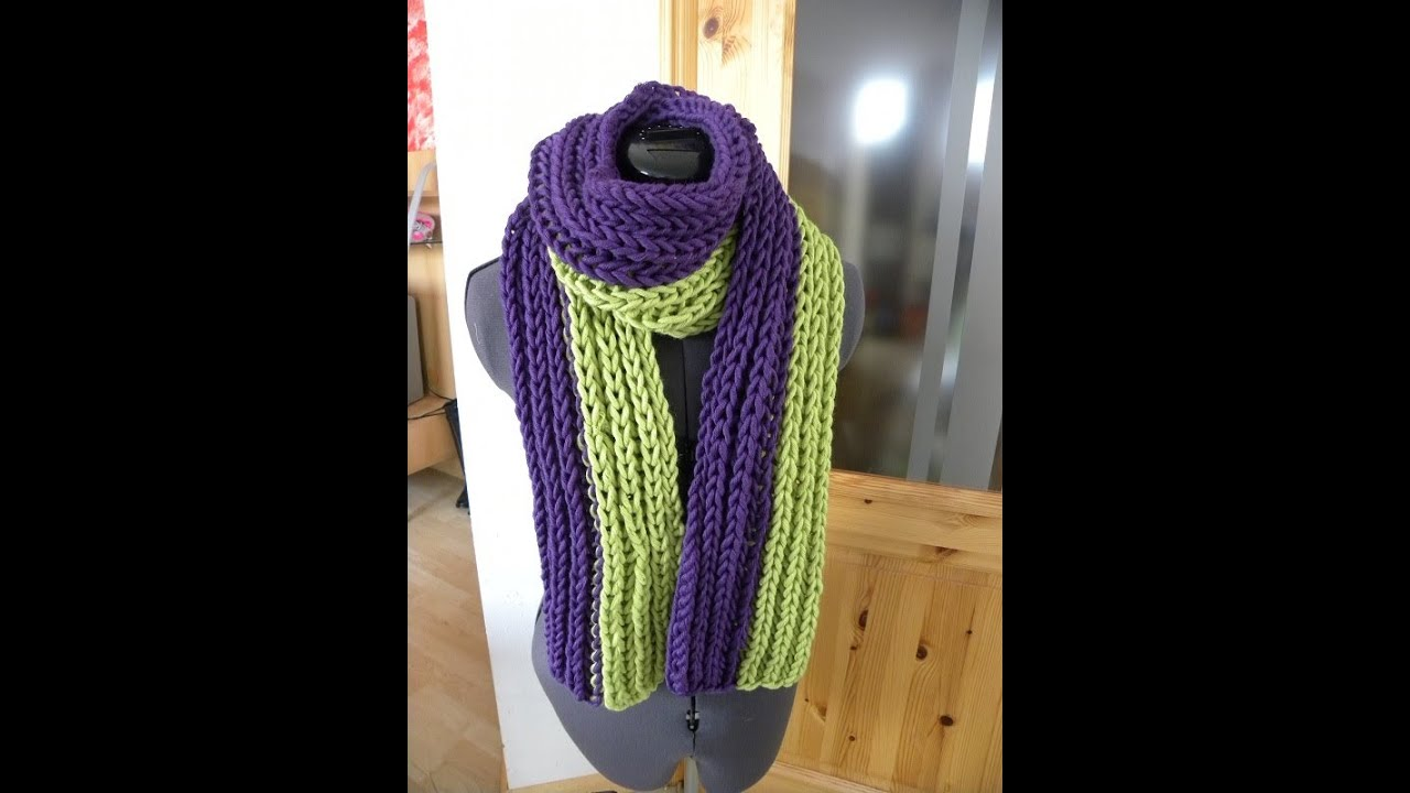 Stricken - Patentmuster Schal aus hatnut cool - YouTube