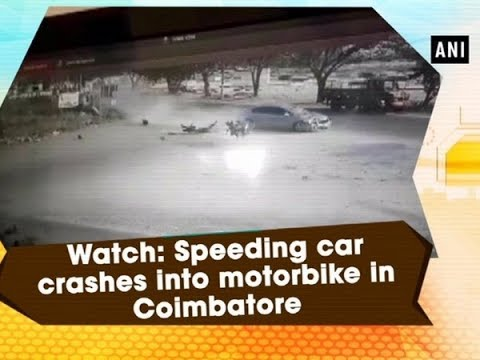 Watch: Speeding car crashes into motorbike in Coimbatore