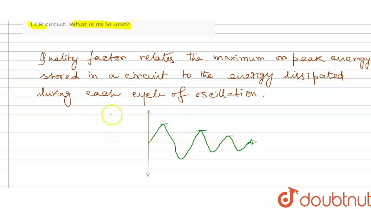 Define The Term Quality Factor Of Resonance In Series Lcr Circuit What Is Its Si Unit Youtube