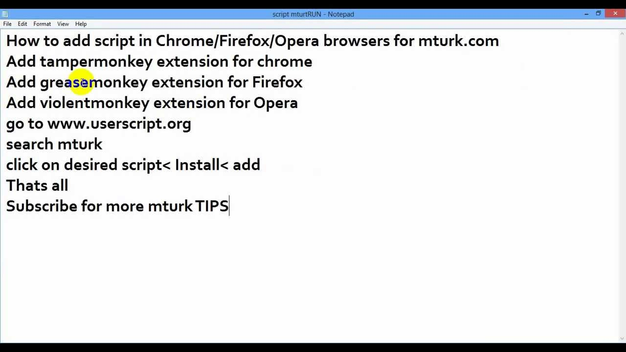 How to add script in Chrome/Firefox/Opera browsers for mturk com HD