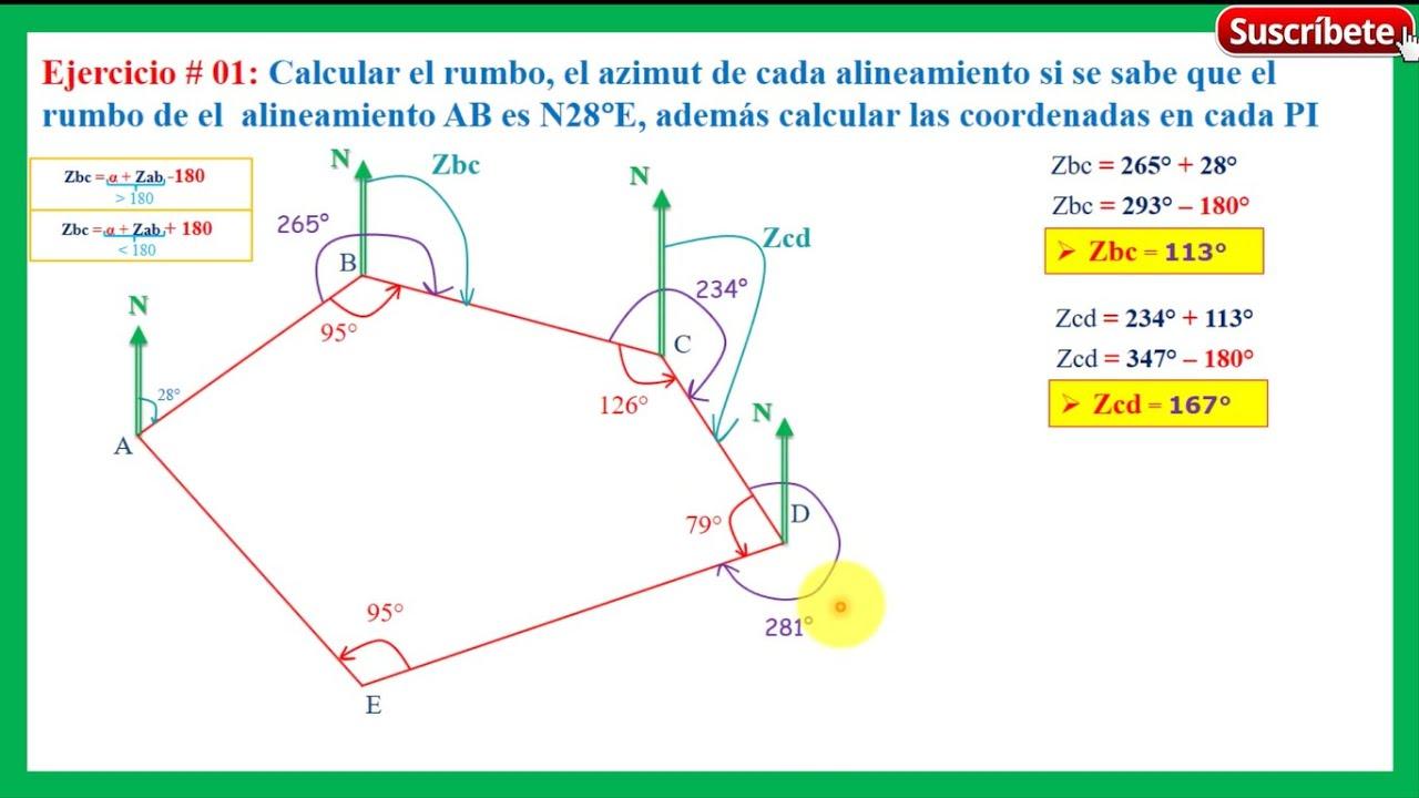 Ejem 01 rumbo azimut y coordenadas 2 3 c lculo del azimut youtube