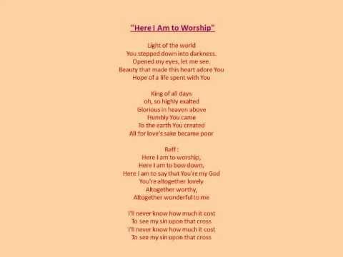 Lagu rohani* here i am to worship. Youtube.