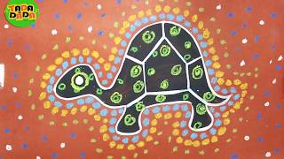 How to draw and paint ABORIGINAL ART TURTLE | Australian folk art | TADA-DADA Art Club