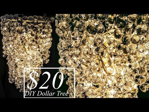 DIY 3 Tier Chandelier Light with Dollar Tree Materials - Glam Decor