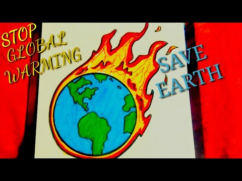 DRAWING POSTER OF GLOBAL WARMING || EASY AND STEP BY STEP.