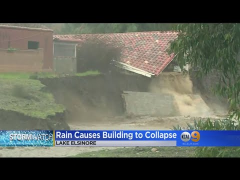Lake Elsinore Homeowners Can Only Watch As Homes, Foundations Crumble Into Swollen Creek