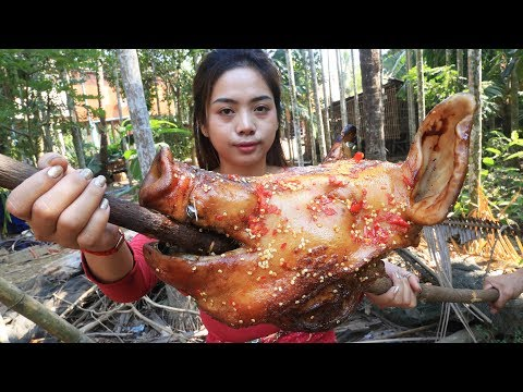 Yummy cooking BBQ head pig recipe - Cooking skill