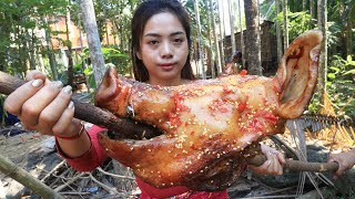 Yummy cooking BBQ head pig recipe  Cooking skill