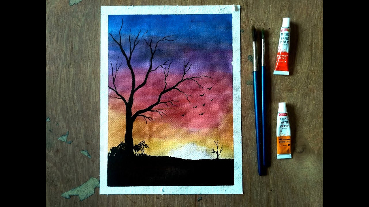 Easy Watercolor Sunset Tutorial For Beginners