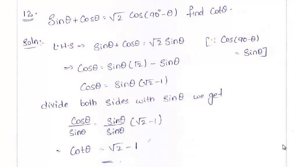 trigonometric identities for class 10 pdf