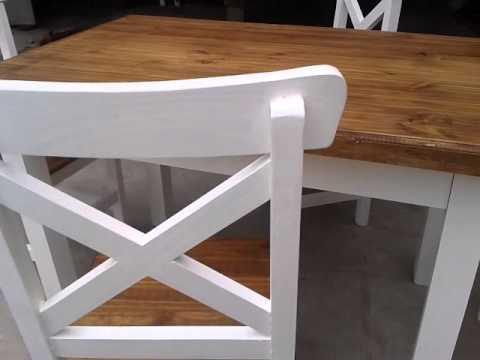 Mesa y sillas de pino pintadas youtube - Sillas de pino ...