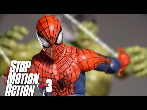 SPIDERMAN STOP MOTION Action Video Part 3 - Iron Man vs Hulk