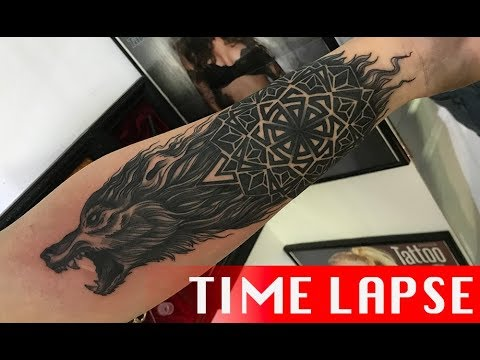 Wolf - Tattoo time lapse
