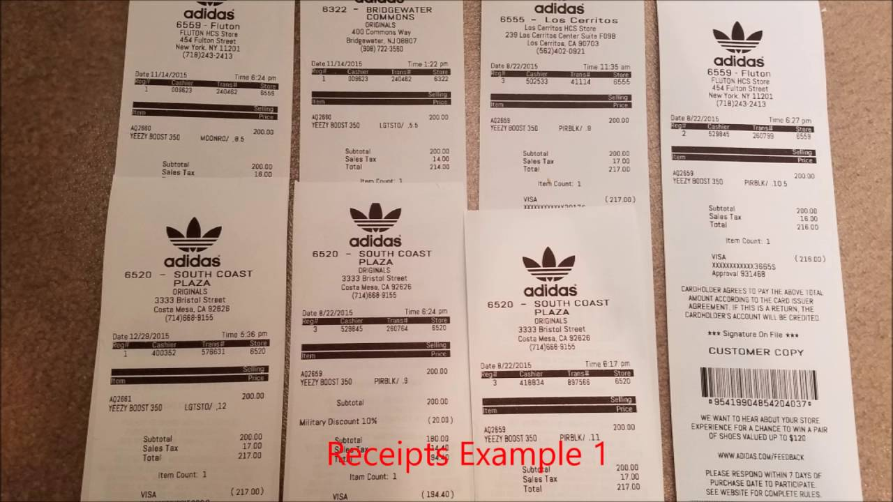 Unauthorized Adidas Yeezy Boost Receipts For Sales      YouTube Unauthorized Adidas Yeezy Boost Receipts For Sales