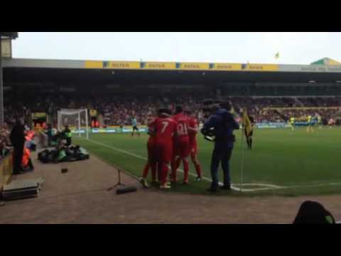 Norwich vs Liverpool 2014 2-3 (footage of 3 goals)