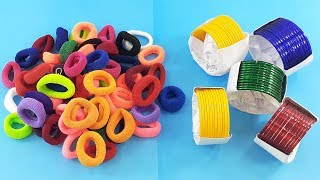 Hair rubber bands & Old bangles reuse idea  | DIY art and craft | DIY HOME DECO