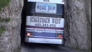 Bus through the tunnel on Needles Highway
