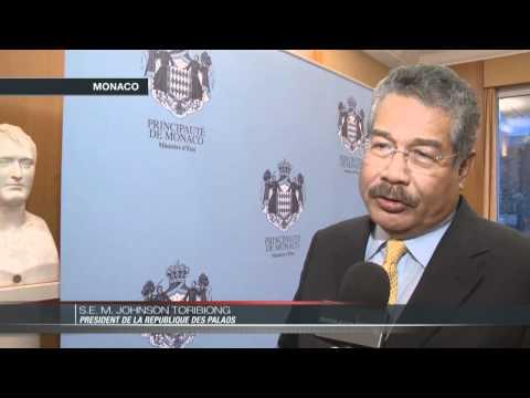 Johnson Toribiong, président de la république des Palaos, en visite à Monaco