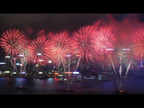 Fireworks Light Up Sky Over Hong Kong's Victoria Harbor For Chinese New Year