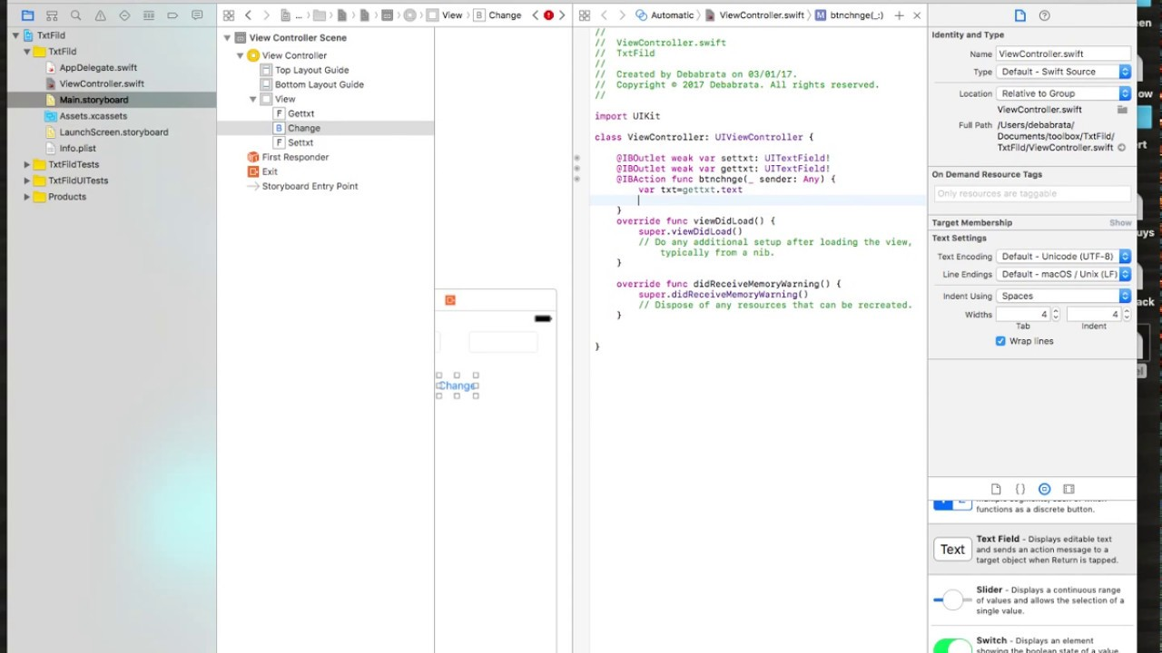 Code For How To Use Uitextfield In Swift 3 0 Tutorial Example 1 Xcode
