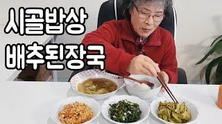 요리+먹방) 시골밥상 배추된장국 만들기, 취나물, 말린…