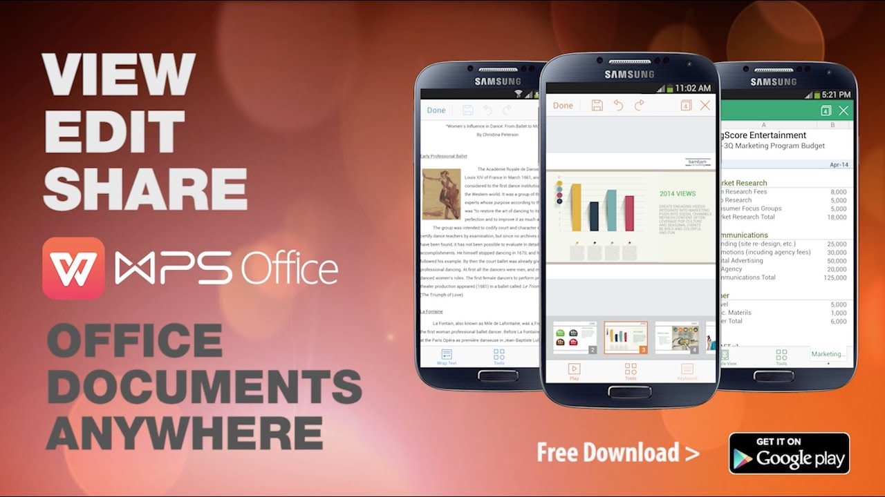WPS Office + PDF for Android full screenshot