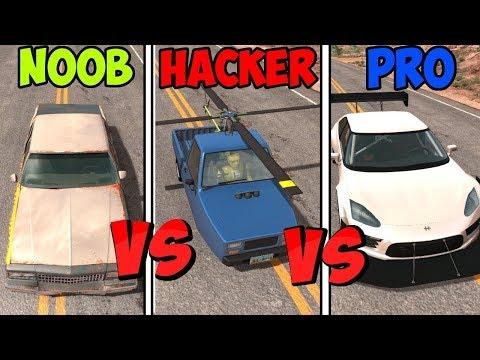 BeamNG Drive - Noob VS Pro Vs Hacker #2 (Crashes & Stunts)