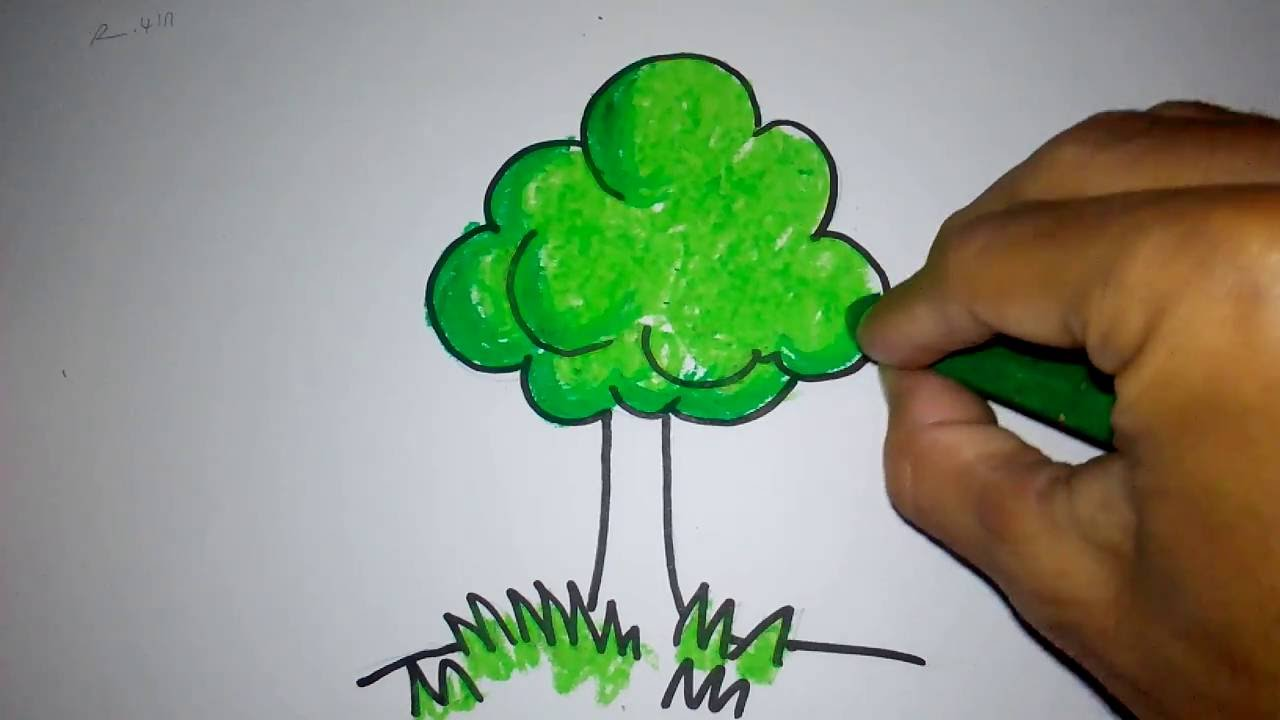 cara menggambar pohon untuk anak TK