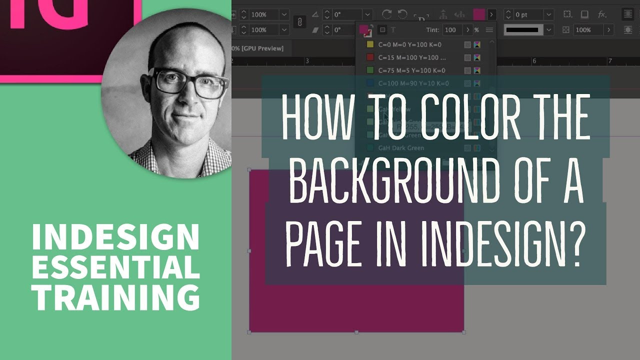 How to color the background of a page in InDesign? - InDesign Essential  Training [10/10]