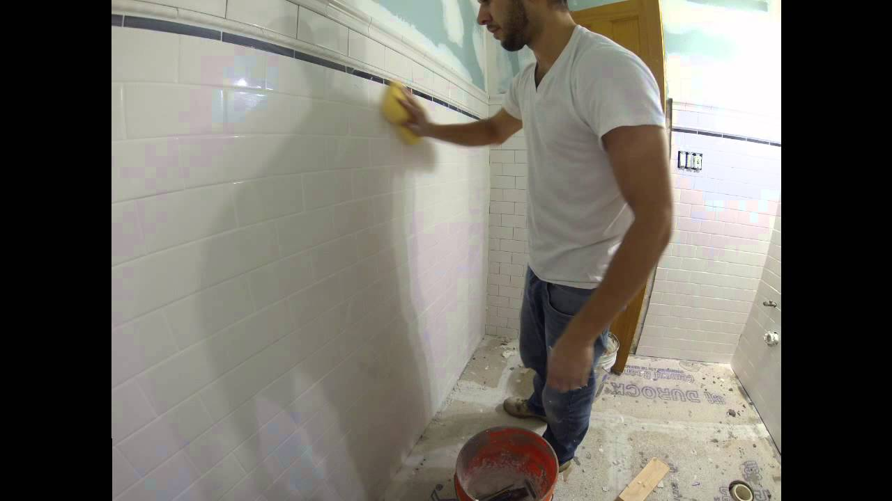 Grouting subway tile bathroom time lapse youtube grouting subway tile bathroom time lapse dailygadgetfo Choice Image