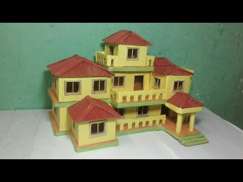 How to make a Beautiful Mansion House From cardbourd and colour paper -(Dream House)