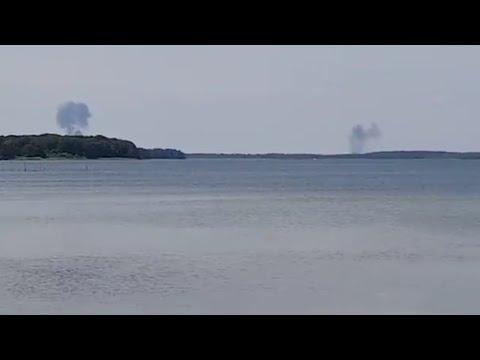 Видео столкновения самолетов Eurofigther Typhoon. Германия.