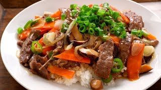Beef and mushrooms stir-fried over rice (Soegogi-beoseot-deopbap: 쇠고기버섯덮밥)