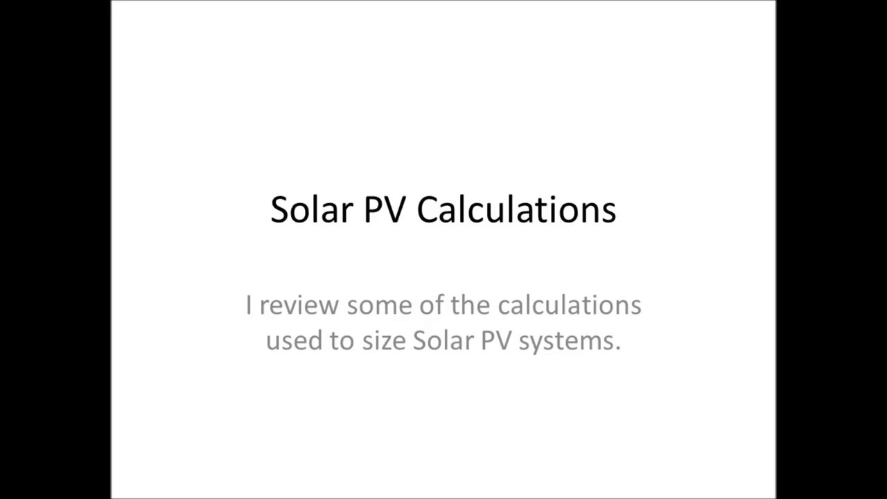 Solar PV Calculations for Series and Parallel Circuits - YouTube